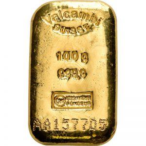 Goldbarren, 100 g, diverse Hersteller