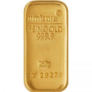 Goldbarren, 250 g, diverse Hersteller