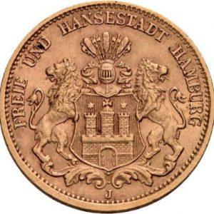 Hamburg, 20 Mark 1875-1880, 1883-1887, J. 210