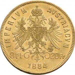 Österreich, 8 Florin (20 Franken) 1870-1891