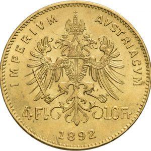 Österreich, 4 Florin (10 Franken) 1892 (Neuprägung)