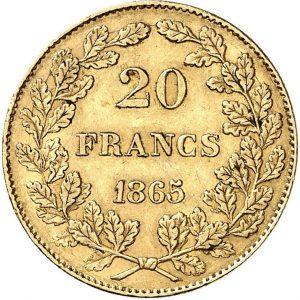 Belgien, Leopold I., 20 Francs 1865