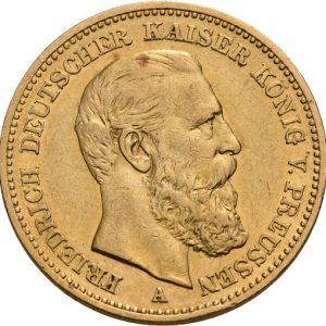 Preußen, Friedrich III., 20 Mark 1888, J. 248