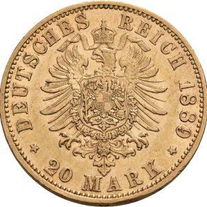 Preußen, Wilhelm II., 20 Mark 1888-1889, J. 250