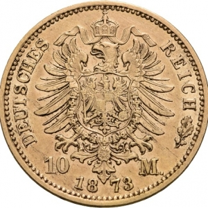 Preußen, Wilhelm I., 10 Mark 1872-1873, J. 242